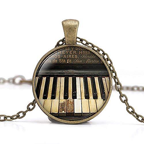 Klavier-Halskette, Musik-Schmuck, klassische Musik-Geschenk, Vintage-Klavier und Pianisten-Anhänger