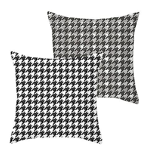LOYYE 2 pcs Fundas de Cojín Decorativos Cuadrícula en Blanco y Negro Cuadradas Terciopelo Funda de Almohada Cubierta para Cojines Sofá Habitación Decor Throw Pillow Case J1919 Pillowcase+Core_45x45cm