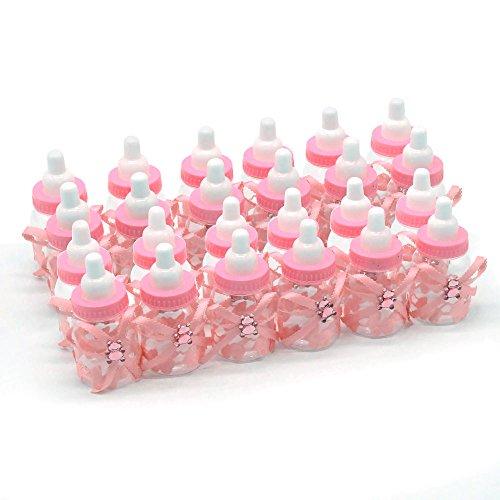ebuybox® 24x Babyshower Gastgeschenke Pink Baer Schnuller Milchflasche Babyflasche Baby Taufe Geburt Party Tischdeko