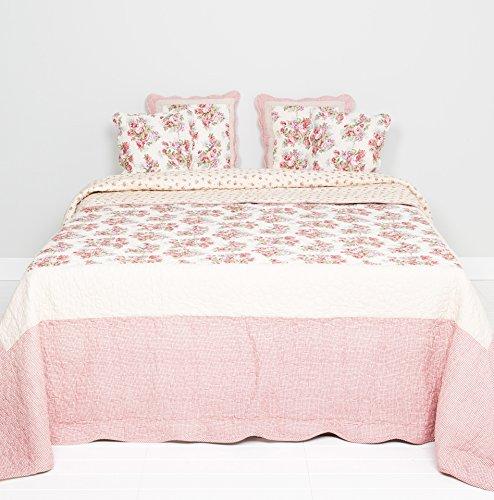 Clayre & Eef Q118.061 Jeté de lit Motif Floral Rouge Vintage 230 x 260 cm