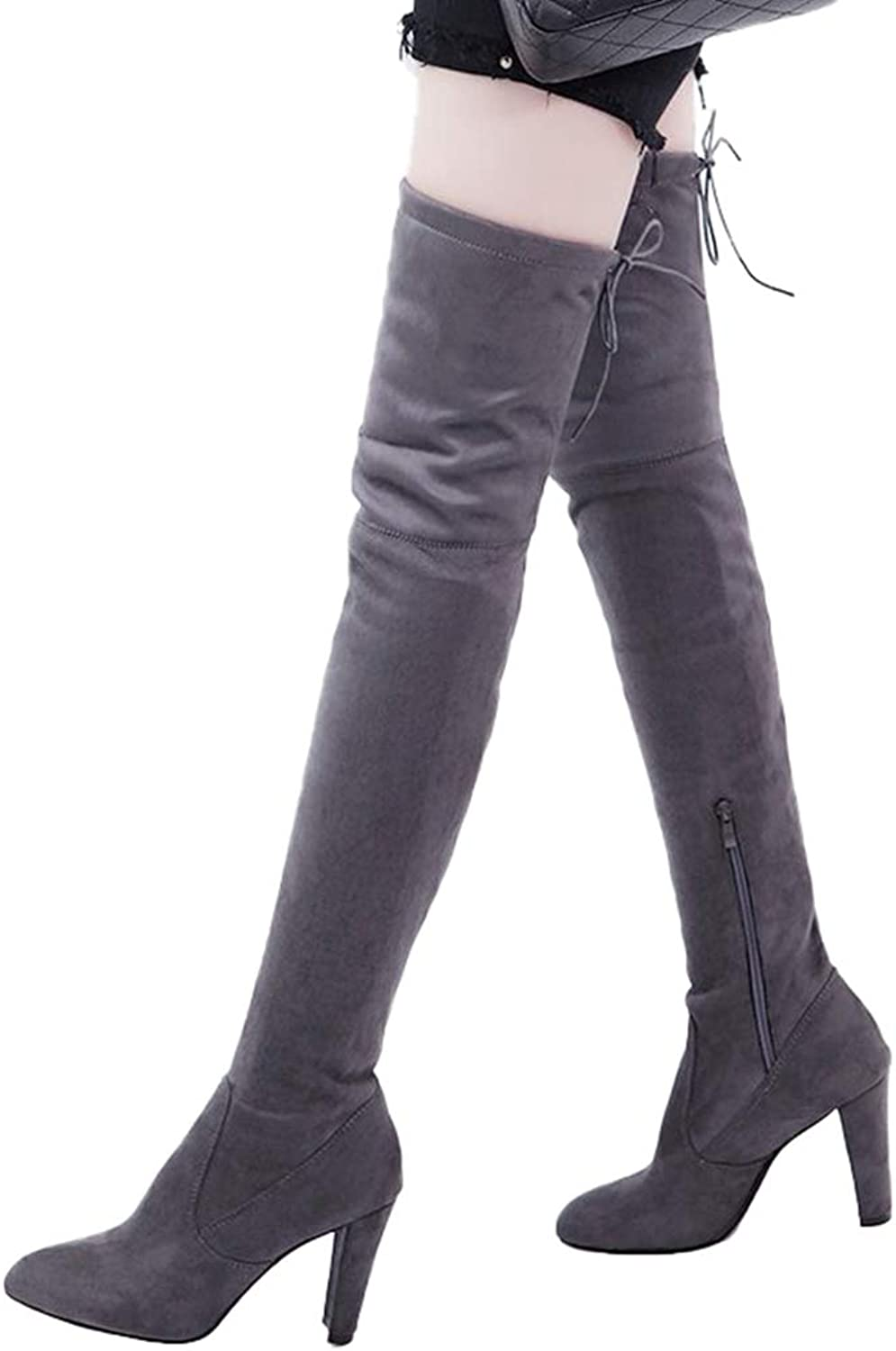 Women Boots Winter Over The Knee shoes Zipper Tall Canister High Heels Pumps Plus Velvet shoes with Fur