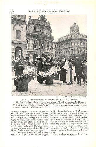 Print Ad 1928 Flower Merchants in Modern Genoa's principal Square|Burton Holmes-Galloway