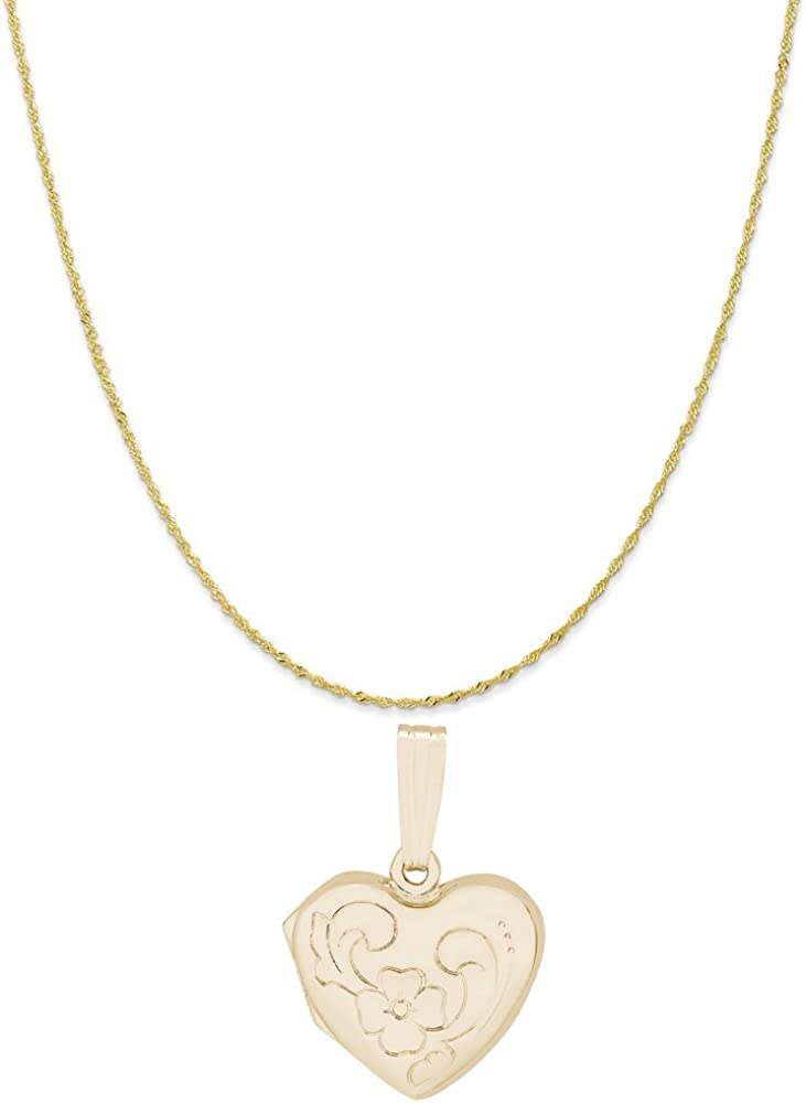 Rembrandt Charms 10K Yellow Gold Heart Flower Locket Charm on a 16, 18 or 20 inch Rope, Box or Twist Curb Chain Necklace