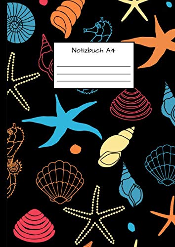 Notizbuch A4: Notizbuch DIN A4 - Kladde kariert 5 mm - 110 Seiten - Notizheft, Tagebuch, Schreibbuch - See- und Ozeanmuster