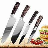 Cuchillo de cocina afilado japonés Santoku acero inoxidable cuchillos de cocina del cuchillo del cocinero utilidad determinada pelado cuchillos utensilios de cocina (Color : 4PCS set A)