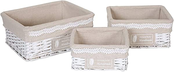 Hosroome Nursery Storage Baskets Set With Liners Woven Wicker Storage Baskets For Baby Decorative Organizing Nesting Baskets For Bedroom Bathroom Set Of 3 White