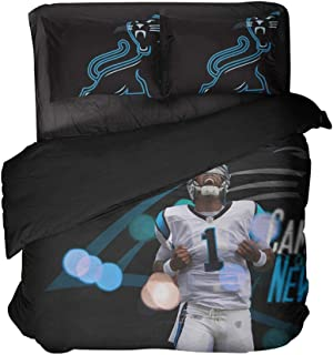 Carolina State 3D Print Bedding Sets Football Player Number 1 Duvet Cover Twin for Adults (Style, Queen-3pcs)