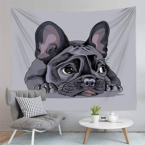 JXCDNB 75CMX85CM 3D Digital Impreso Lindo Cachorro Pug con Sombrero Tapiz Colgante de Pared decoración del hogar Alfombra de Yoga
