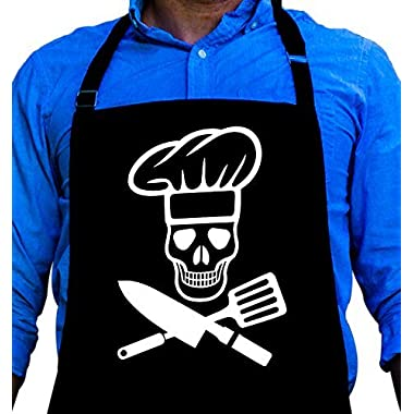 BBQ Grill Apron - Pirate Cook Skull Chef - Funny Apron For Dad - 1 Size Fits All Chef Apron High Quality Poly/Cotton 4 Utility Pockets, Adjustable Neck and Extra Long Waist Ties