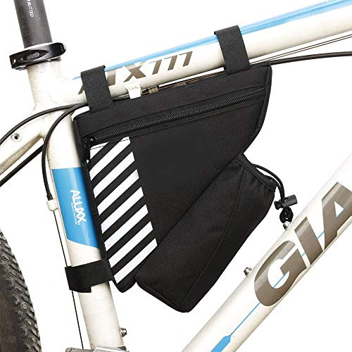 Bolsa Cuadro Triángulo de Bicicleta, Bolsa Tubo Cuadro Bicicleta MTB, Durable Poliéster Bolsa de Cuadro de Bicicleta con Bolsillo para Botella de Agua para Bicicleta, Estudiante, Mujer (Negro)