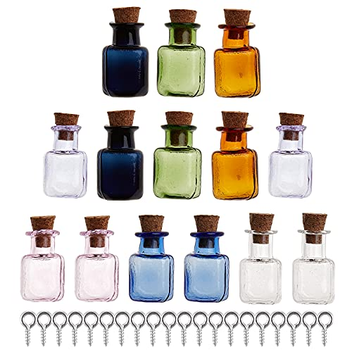 GORGECRAFT, 14 Uds, Mini Botellas de Vidrio de Color, Frascos Pequeños, Frascos Rectangulares para Deseos, Bonitas Botellas con Corcho para Decoración de Bricolaje para Fiestas, Bodas