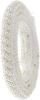 MagiDeal 1 Yard Perlas de Imitación de Encaje Cinta de Granos Applique Adornos de Costura Color Negro/Blanco - Blanco