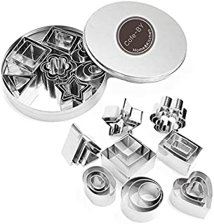 Cofe-BY Mini Cookie Cutter set – 24 Pieces Metal Fondant Cutters Stamp – 3 Heart Shape, 3 Star Shape, 3 Flower Shape and 15 Geometric Shape Cutters for Polymer Clay