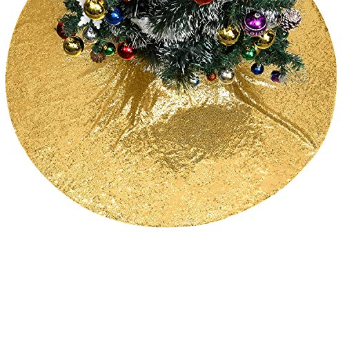 Poise3EHome Tree Skirt, 48 inches Gold Sequin Christmas Tree Skirt