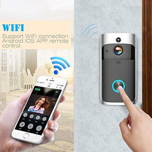 Tiowea Home Wireless Remote Monitor 2-weg video-deurbel in real-time bewakingscamera's Mittel zwart