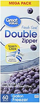 60 Count Great Value Fresh Seal Double Zipper Freezer Bags