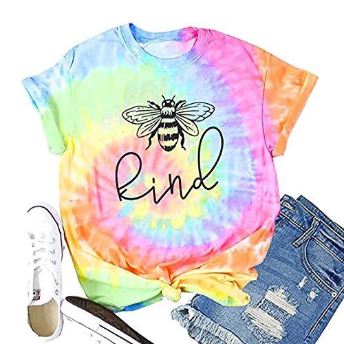 DREAMING-Camiseta de Manga Corta con Estampado de Letras Superiores, Cuello Redondo, Manga Corta, Camiseta de algodón Informal para Mujer M