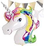 Lepep Globos gigantes de 108 x 88 cm, 3D, arcoíris, unicornio, globos de unicornio para niños, globos de helio, unicornio, fiesta, decoración de globos