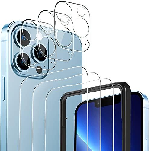 YOCKTECH Cristal Templado para iPhone 13 Pro Max +Protector de Lente de Cámara, 3+3 Piezas Protector de Pantalla de vidrio templado Anti arañazos Ultra Fino para iPhone Pro Max 6.7