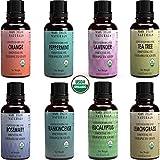 Organic Essential Oils Set, Top 8 x 10 ml each, USDA Certified Lavender Peppermint Orange Lemongrass Rosemary Eucalyptus Tea Tree Frankincense for Aromatherapy