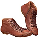 MOMOXI Botas Moda Mujer Estilo Inglaterra Cuero Zapatos Motos Botas Botas de Cordones Retro de Cuero Plano Casual para Mujer Botas de Zapato con Punta Redonda con Cremallera Lateral