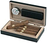 Egoist Premiuem - Zigarren Humidor Box aus Holz mit Hygrometer und Befeuchtungssystem für ca. 5 Zigarren I Zigarren-Zubehör - Schwarz
