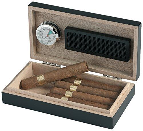 Egoist JK00179 Humidificador Humidor con hygrómetro para puros, habanos o tabacos - 5 cigarros, color negro