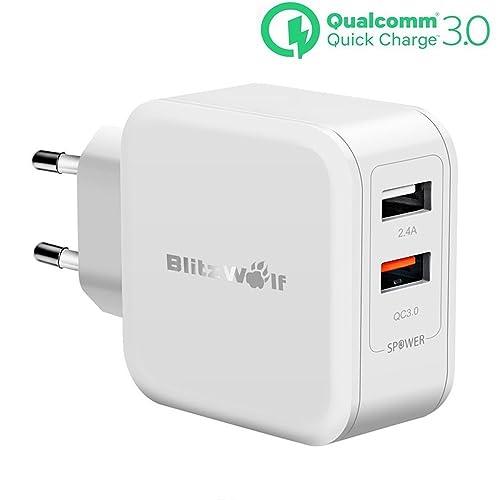 150f45fbca2 [Quick Charge 3.0] Cargador USB Doble, BlitzWolf 30W 2 Puertos Cargador  Móvil QC3
