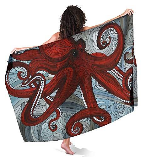 Red Octopus Beach Summer Sarong for Womens Swimwear Cover Ups Chiffon Summer Pareo Spa Swimsuit Bikini Wrap Short Skirt for Park Boating Cruises
