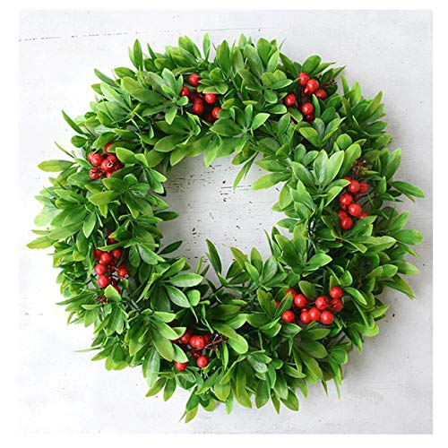 RENJIANFENG Artificial Garland Front Door Wreaths,for Artificial Greenery Hanging Wreath for Home Party Indoor Outdoor Window Wall Wedding Decoration,E