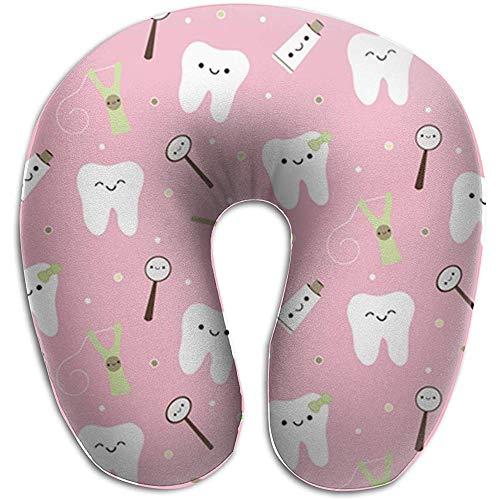 U-Shaped kussen, tandheelkundige tanden stof tandpasta roze zachte comfortabele nek kussen voor vliegtuigen reizen rust
