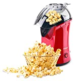 AEMEGO Hot Air Popcorn Popper, 1200W Electric Popcorn Maker Machine with Removable Measuring Cup and Top Lid No Oil Needed for Home Family Kids (Red)