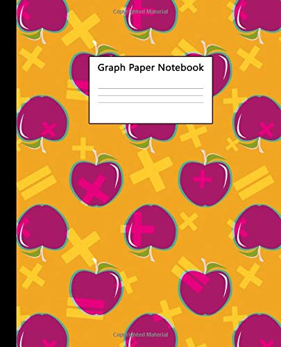 Graph Paper Notebook: Quad Ruled 5x5 inch (.20') Composition Book for University, School & College - 100 Pages, 5 Squares per Inch Graphing Paper - Funky Apples & Math School Print