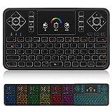 Mini Wireless Keyboard,Q9 Mini Keyboard with Touchpad,Colorful Backlit Small Wireless Keyboard,Mini Rechargeable Handheld Remote Keyboard for PC,Raspberry Pi 4, Android TV Box,KODI,Windows 7 8 10