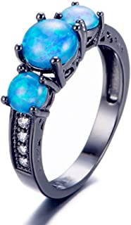 Guoshan Three Stone Purple Fire Opal Ring Black Gold Ring Personalized Gift for Women (Size 5-19)