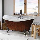 68' Acrylic Double Slipper Clawfoot Bathtub with Faux Copper Bronze Finish Deck Mount Faucet Holes-'Copper Harrison'