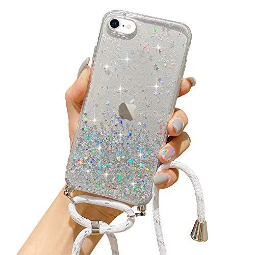 LCHULLE Handykette Handyhülle für iPhone 6 Plus/6S Plus(5.5 Zoll) Hülle mit Kordel Umhängenhülle Necklace Hülle mit Band Schutzhülle Transparent Silikon Case für iPhone 6 Plus/6S Plus Transparent