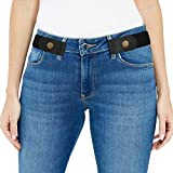 Black Elastic Belts for Women/Men Dresses, unisex Stretch waist Belts No Bulge, waist size 24-35in
