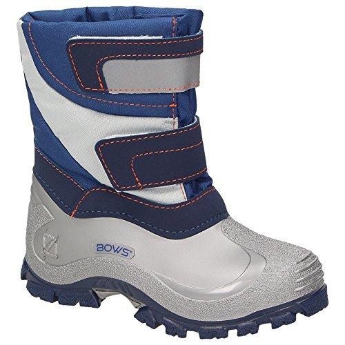 BOWS® -MIKA- Jungen Mädchen Winter Stiefel Schnee Boots Unisex Kinder Schuhe Warmfutter wasserabweisend wasserdicht reflektierend, Schuhgröße:20, Farbe:Marineblau