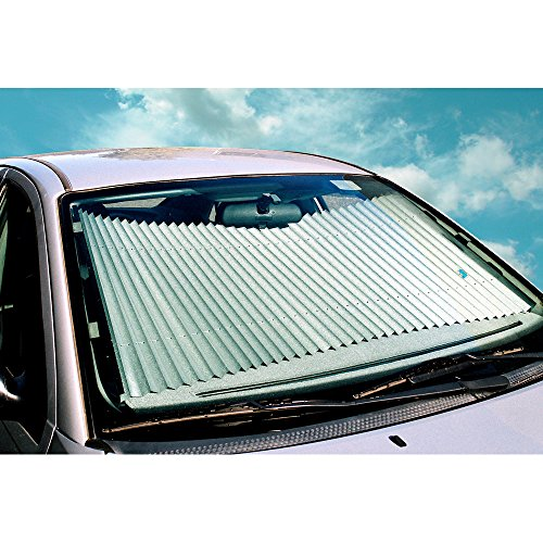 Dash Designs 27 inch Universal Fit Retractable Auto Windshield Sunshade fits 2010-2015 Toyota Prius and Other Large Windshield Vehicles