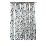 Benjara Madrid Beach Print Fabric Shower Curtain with Button Holes, White and Gray