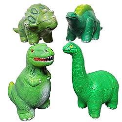 3. Jet Creations Squishy Dinosaur Toy Set (4pcs)