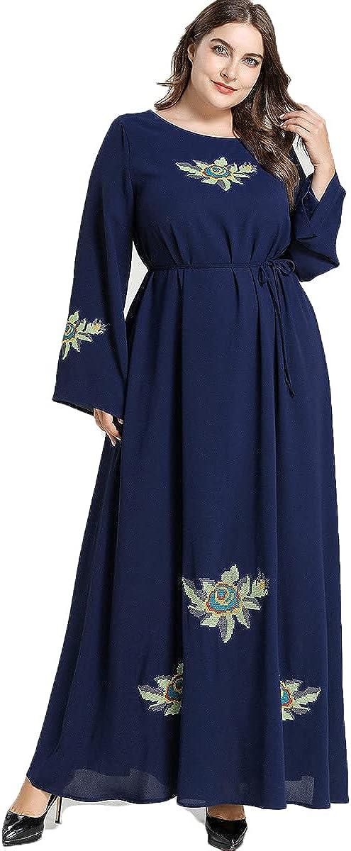 Comfortable Plus Size Women's Long Skirt Dresses Fashion Plant Embroidered Belt Leisure Big Swing Dress