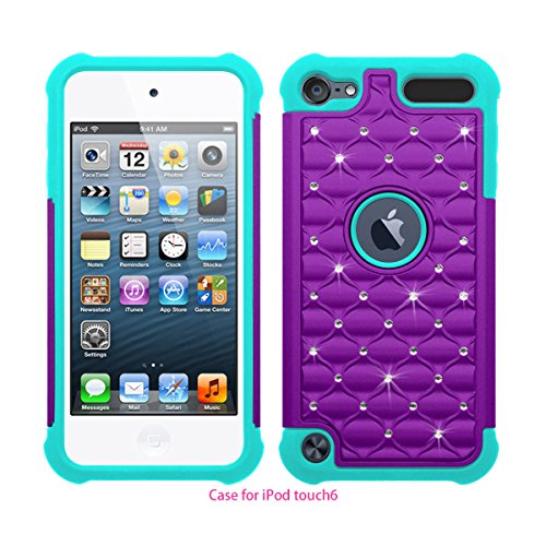 Touch 5 / Touch 6 Case, Berry Accessory(TM) Studded Rhinestone Crystal Bling Hybrid Armor Case Cover for Apple iPod Touch 5 / iPod Touch 6 with Free Berry Logo Stand Holder (Purple/Mint Green)