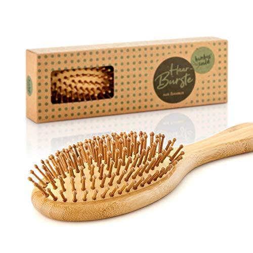 bambuswald© nachhaltige Haarbürste 100{589b44c874e3ae3521975053174dd3dd1f210fbf15fb601213746b3ed868a0e0} Bambus - antistatische Naturborsten | Bürste optimale Haarpflege - Naturkamm für kräftiges Haar egal ob locken, lang o. kurz - kämmen ohne Haarbruch
