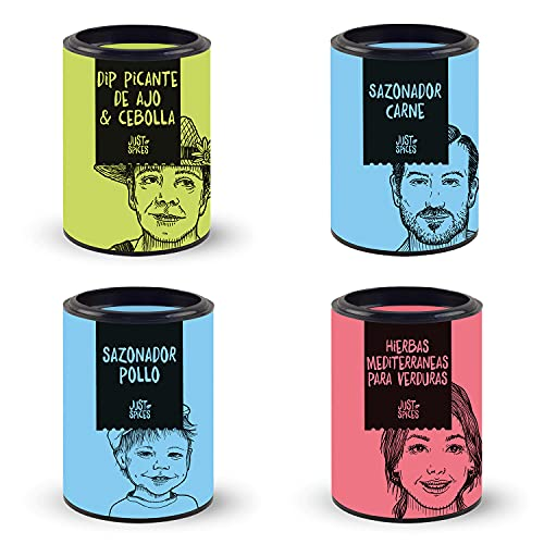 Just Spices Grill Spice Set I Set de regalo para barbacoa I 4 especias diferentes para carne y salsas I Regalo para hombres y mujeres