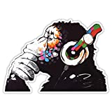 Banksy Thinker Monkey - Adhesivo de vinilo para pared, diseño de graffiti, para ventana, coche, portátil, tamaño grande, 20 x 14 cm
