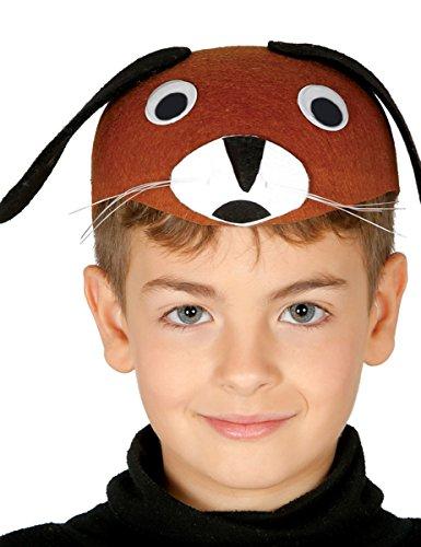 Guirca Hund Hunde Kappe für Kinder Karneval Fasching Party Hut Mütze Kopf braunTier