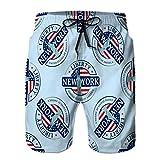 Pantalones Cortos de Playa de Moda Pantalones Cortos para Hombre Trajes de baño Estampilla Casual Estatua Liberty New York se Puede Usar Textiles Libro Sitio Web Fondo Realista M