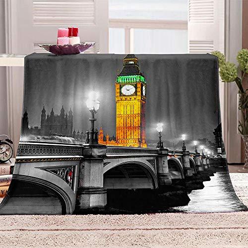 ZFSZSD Kuscheldecke Sherpa Decke Impressionen von London Flanell Gedruckte Decke Mikrofaser Sherpa Fleecedecke Weich Dicke Wohnzimmerdecke Tagesdecke Sofadecke zweiseitige Decke 180x200cm